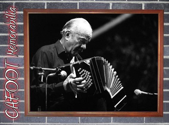 Astor Piazzolla Poster Vidriado Enmarcado Bandoneon Tango