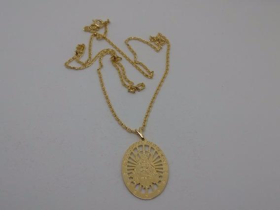 Corrente 60cm Com Medalha Sagrado Coração Banhada Ouro 18k