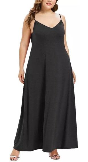 Vestido Negro O Rosa Palo Largo Talla Plus + Envío Gratis