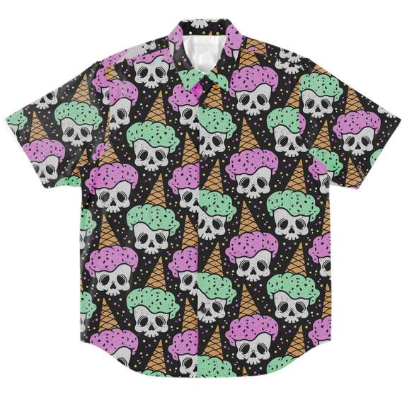 Camisa Botão Masculino Casual Psicodélica Caveira Geek Verão
