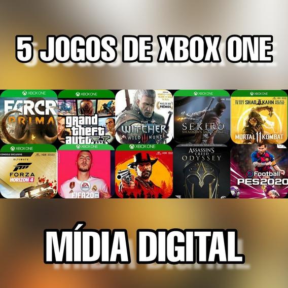 Pacote Com 5 Jogos De Xbox One Mídia Digital + Brinde