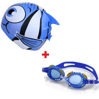 Kit Touca Infantil + Óculos Natação Infantil Frete Grátis