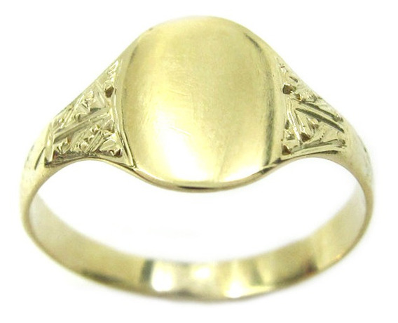 Joianete A8990-72454 Anel Ouro Desenhos Laterais Chapa Lisa