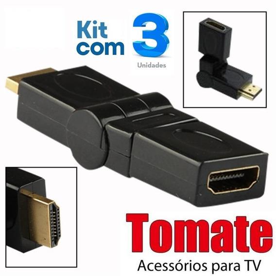 Kit 03 Adaptadores Hdmi 360º Graus Articuláveis / Tomate