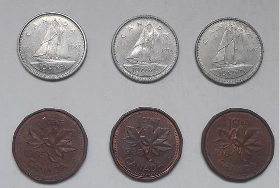 * Gran Lote De 6 Monedas De Canadá