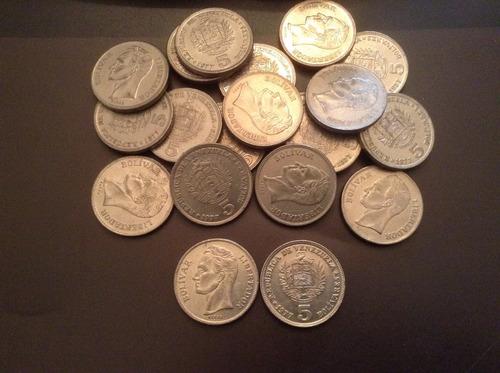 Set De 20 Monedas De 5 Bolivares De Niquel Del Año 1977