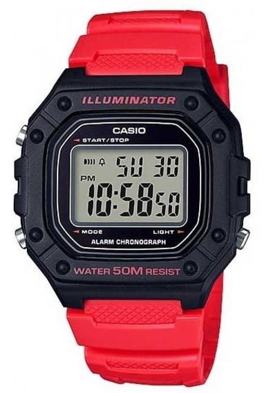 Relógio Casio Digital Masculino Vermelho W-218h-4bvdf