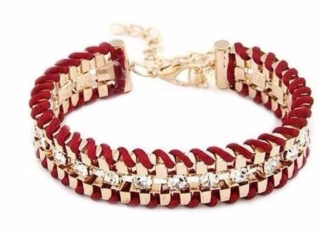 Pulseira Feminina Trançada Banhada18k Bracelete Couro Strass