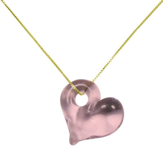 Gargantilha Pingente De Cristal Artesanal Coração Rosa