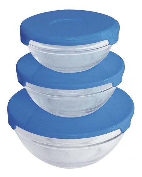 Set 3 Bowls Vidrio Carol Con Tapa De Plástico Color Rojo