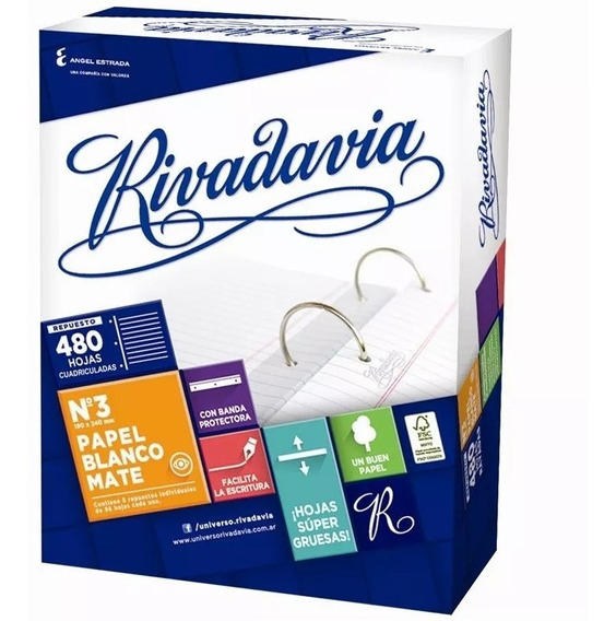 Repuesto Rivadavia N3 480 Hojas Rayado / Cuadriculado