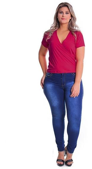 Blusa Transpassada Plus Size Camisa Decote V Feminina Malha
