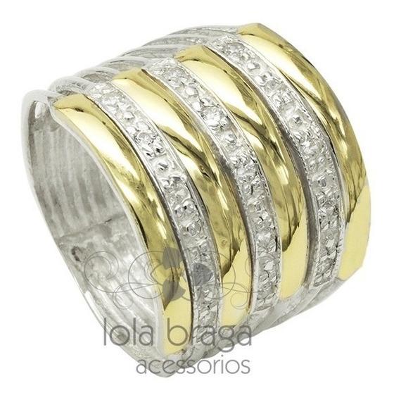 Lindo Anel 7 Elos Feminino Prata 950 Maciça E Ouro