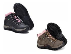 Tênis Coturno Feminino Boot Adventure Trilha Kit 2 Pares