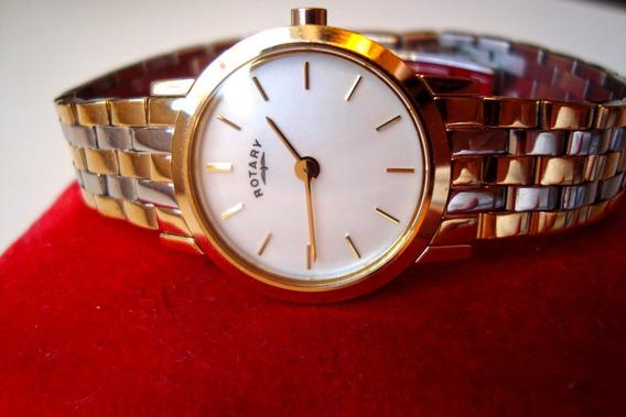 Relógio Rotary Suíço Feminino - Aço Banhado A Ouro