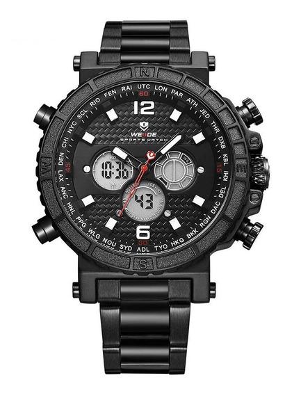 Relógio Masculino Weide Original Anadigi Wh6305 Preto