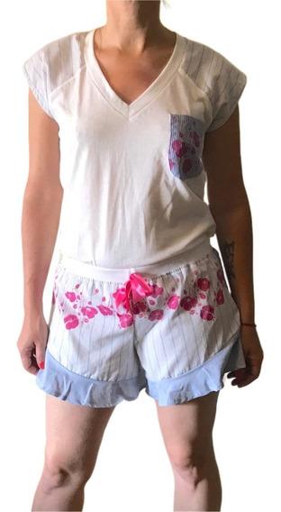 Pijama Sustentable Mujer Short Volados Y Remera Reinventando