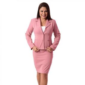 e0996f225a Conjunto Social Feminino Com Saia Uniforme - Rosa E Cores