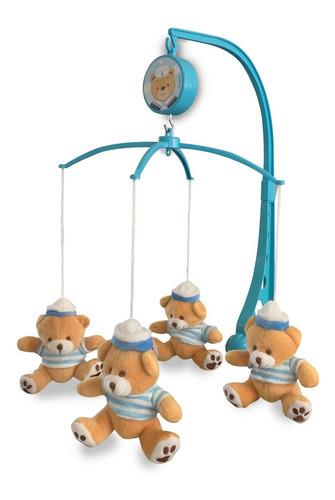 Móbile Em Pelúcia Giratório Musical De Bebê Urso Marinheiro