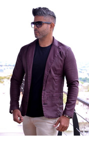 Blazer Masculino Encerado Slim Fit Corte Italiano Promoção