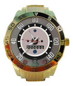 Relógio Pulso Velocímetro Fusca Pulseira Aço Inox Dourado