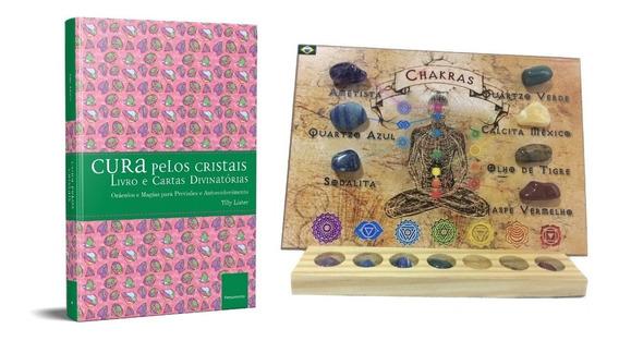 Kit 7 Pedras Dos Chakras Quadro Reiki + Livro Cura Cristais