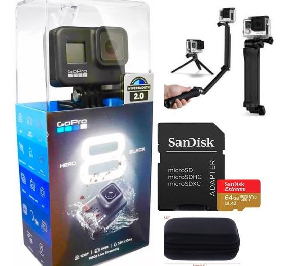 Câmera Gopro Hero 8 Black + Cartão Ext 64gb + Case+ 3way