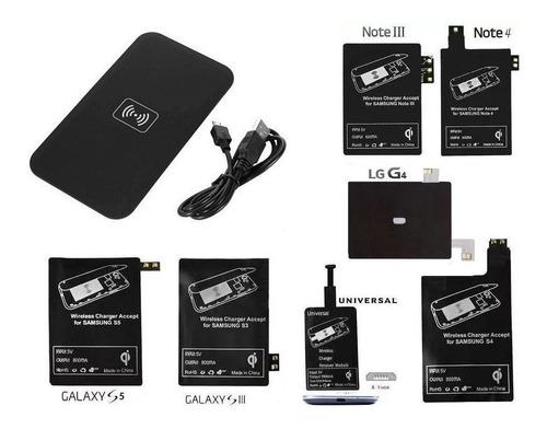 Imagen 1 de 8 de Cargador Inalambrico Qi + Receptor S3 S4 S5 Note 3,4 LG G4
