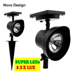 Refletor Led Solar Luminária Jardim Spot 6xluz Kit 2