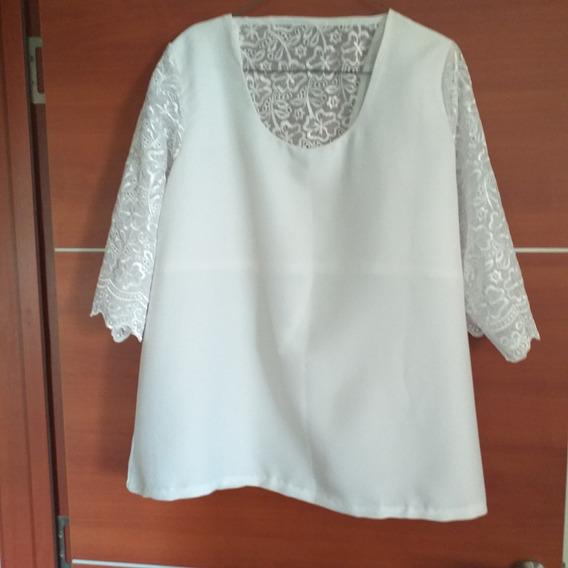 Blusa Elegante En Crepe Con Torchon Blanca Nueva Talla Xl