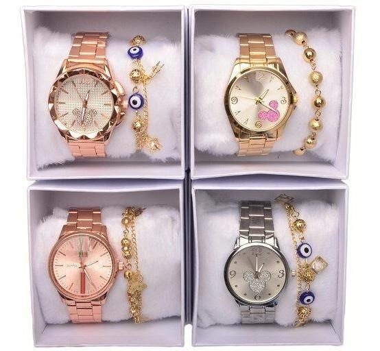 Kit 5 Relógios Femininos + 5 Caixa Branca + 5 Pulseiras Atacado Revenda Top Modelos Novos Re-03