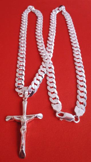 Cordão Escamado 10mm 70cm+crucifixo Prata 925 Italybrinde