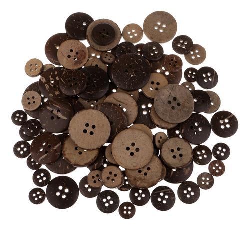 Imagen 1 de 5 de 100 Piezas Botones Elegante De Concha De Coco Madera Color