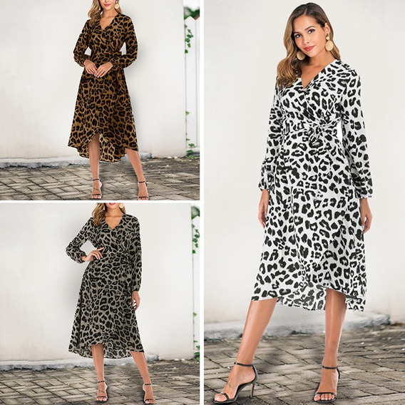 Mulheres Leopardo Impressão Longo Dress Mangas Compridas Com