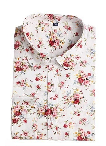 Camisa Feminina Floral Algodão Manga Longa