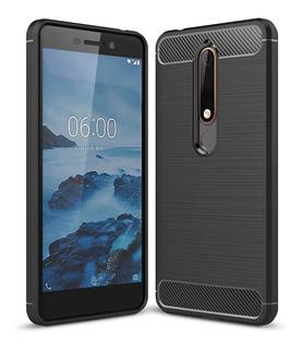 Funda Nokia 5.1 Plus Carbono Anti Golpes + Vidrio Templado