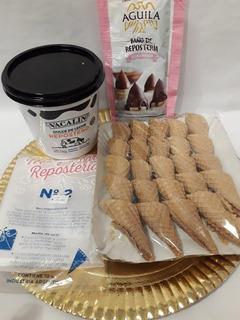 Combo Para Armar Cucuruchos Rellenos Y Bañados En Chocolate