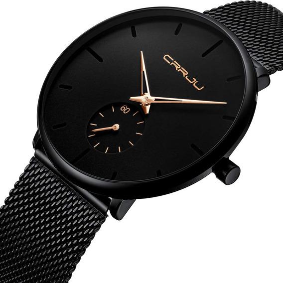 Reloj Cuarzo Crrju Ultra Delgado De Moda Para Hombre