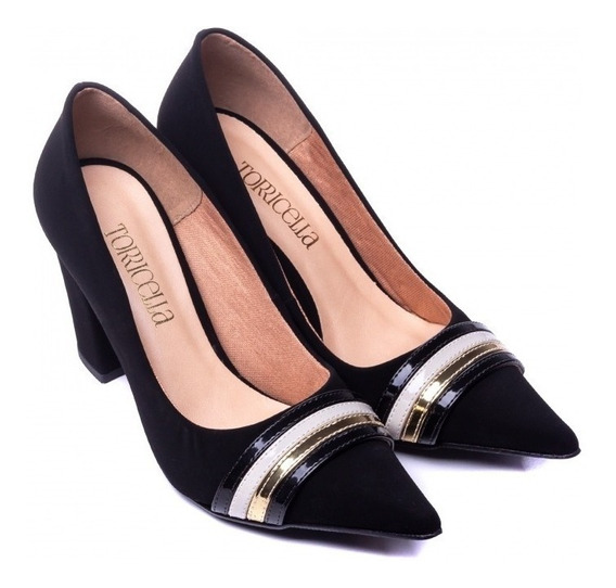 Sapato Scarpin Feminino Salto Bloco Verniz Cores 2020 Linda!
