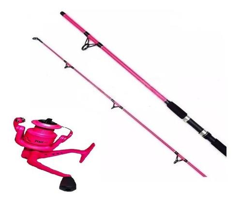 Imagen 1 de 3 de Caña De Pescar  Mujer Variada + Reel Rosa + Tanza