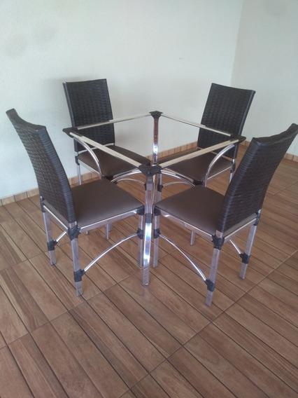 Jogo De Mesa Com 4 Cadeira De Aluminio