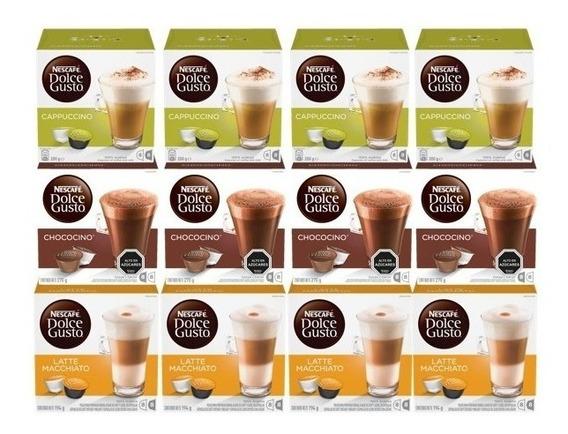 Dolce Gusto Capsulas Lacteados Y Chocolate Pack X12 Cajas