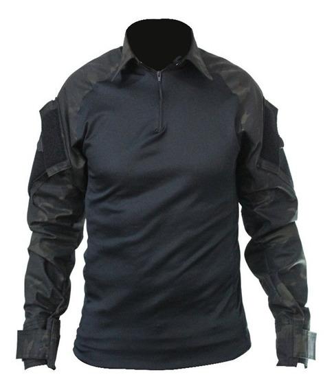 Combat Shirt Camisa Tática Militar Camuflada Preta Multicam