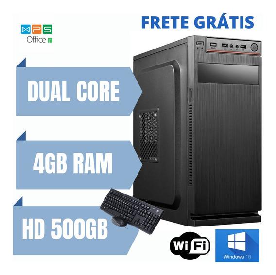 Cpu Pentium Dual Core 4gb 500gb Windows 10 Brindes Nova.