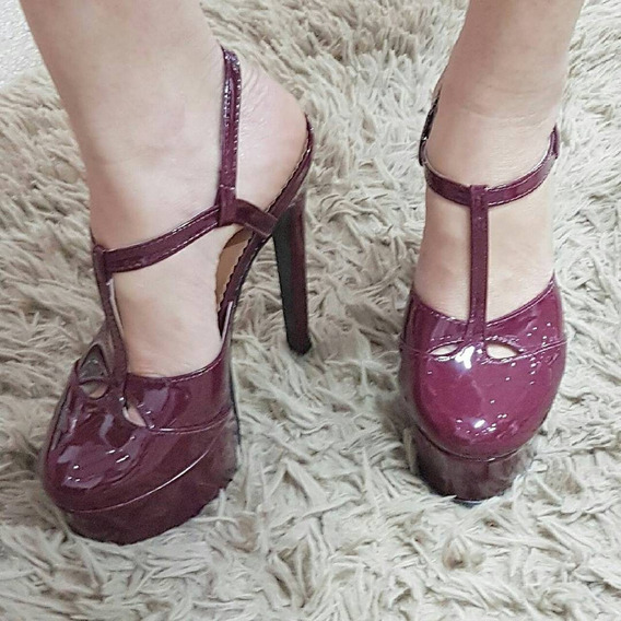 Sapatos Femininos Plataforma Marsala Noivas Salto 15 Cm