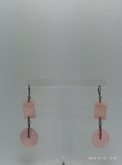 Aros Geometricos Nacar Rosa/ Moda