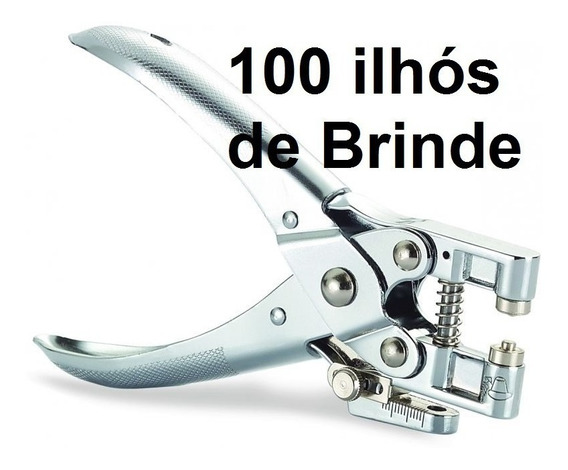 Alicate Ilhós Profissional 2 Em 1 C/ 100 Ilhoses De Brinde