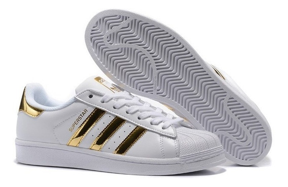 Zapatillas adidas Superstar Blanca Con Dorado