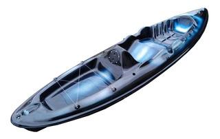 Caiaque De Fibra Modelo Pesca C/ Remo- Preto, Branco E Azul