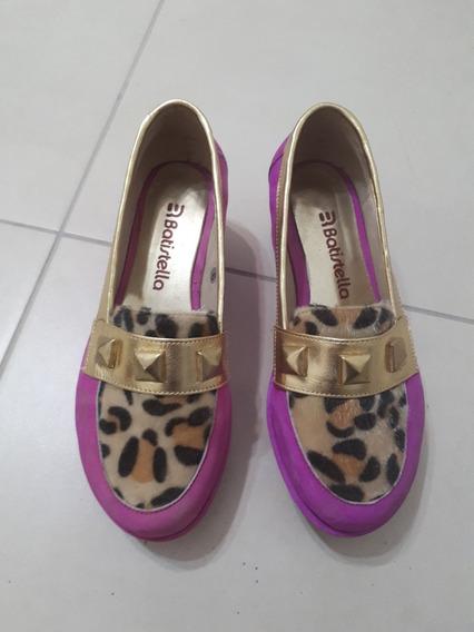 Zapatos Mocasines Rosa Taco Chino Batistella Cuero